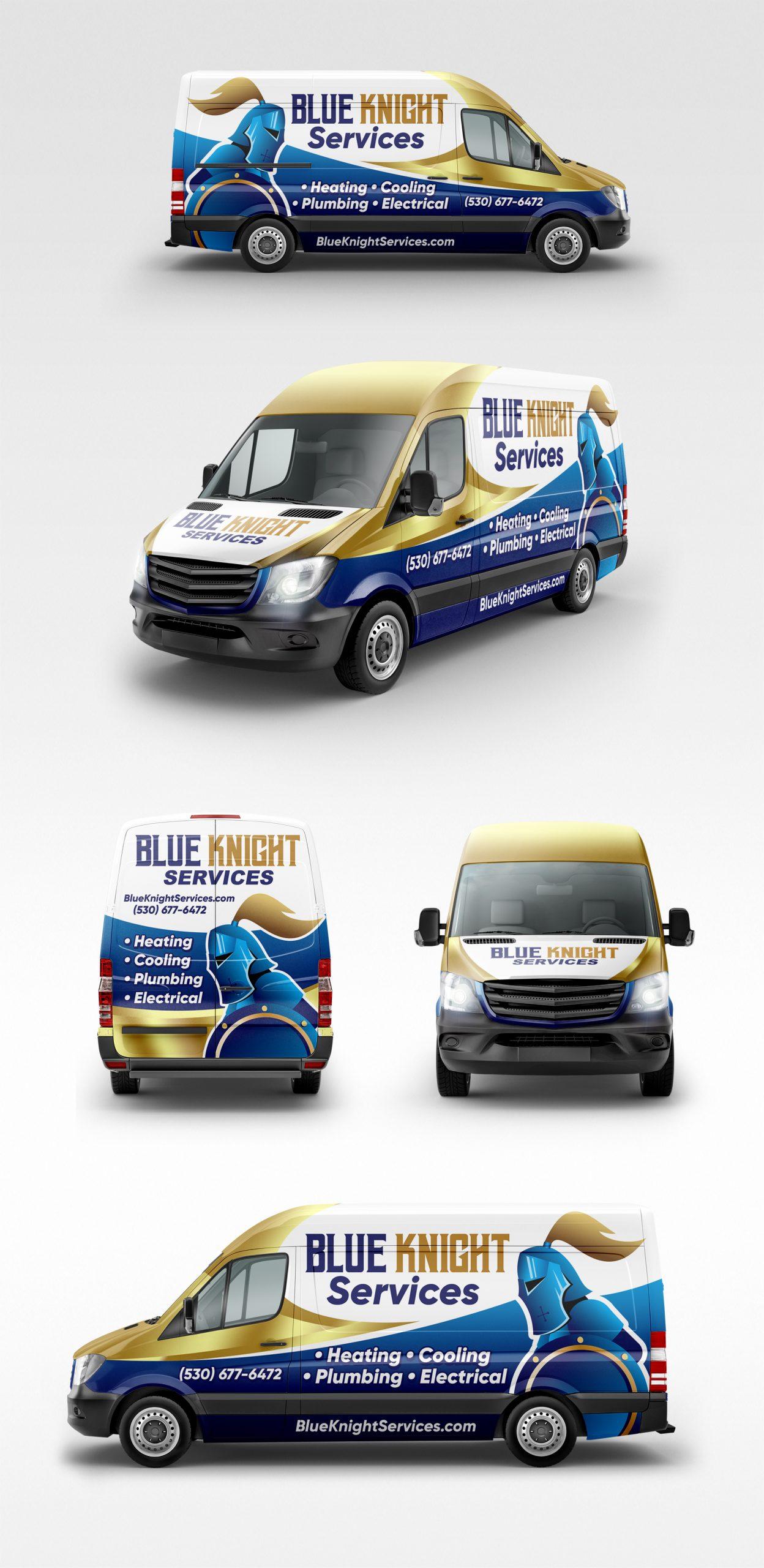 Blue Knight van wrap