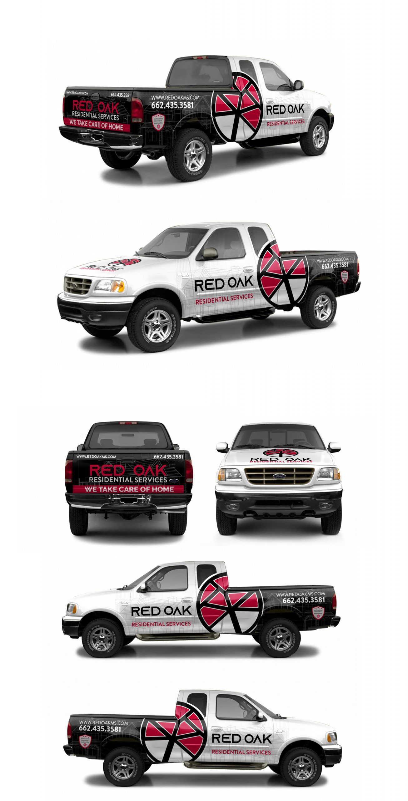 Red Oak Residential Services 2003 F150 wrap mockup