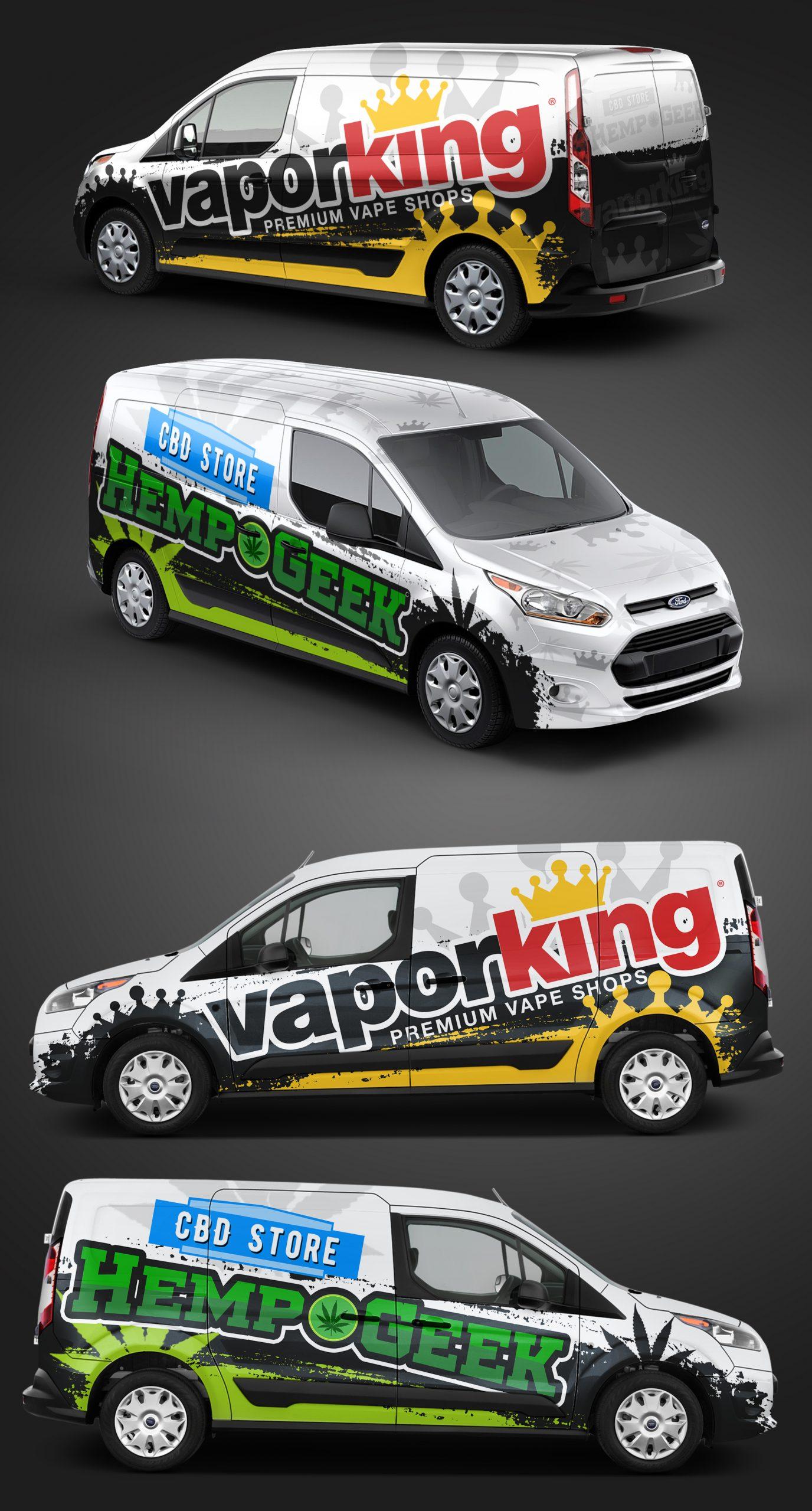 Vapor King & Hemp Geek Ford Transit Connect Vehicle Wrap (mockup)